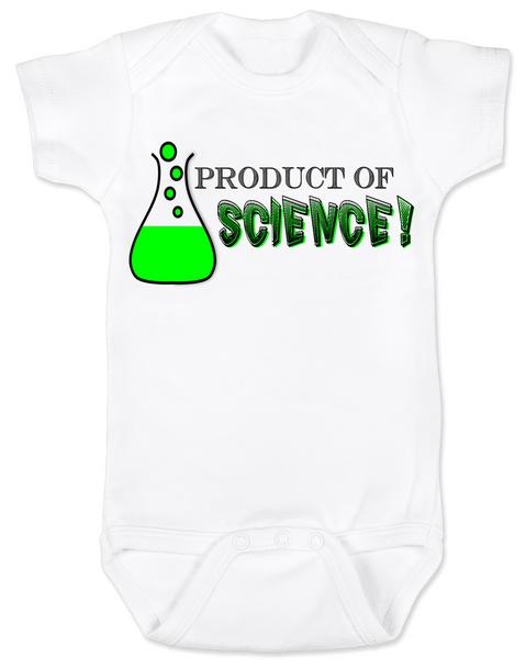 Product of Science baby Bodysuit, test tube baby, fertility treatments, in vitro fertilization, artificial insemination, funny infertility baby Bodysuit, geeky fertility onsie