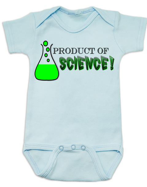 Product of Science baby Bodysuit, test tube baby, fertility treatments, in vitro fertilization, artificial insemination, funny infertility baby Bodysuit, geeky fertility onsie, blue