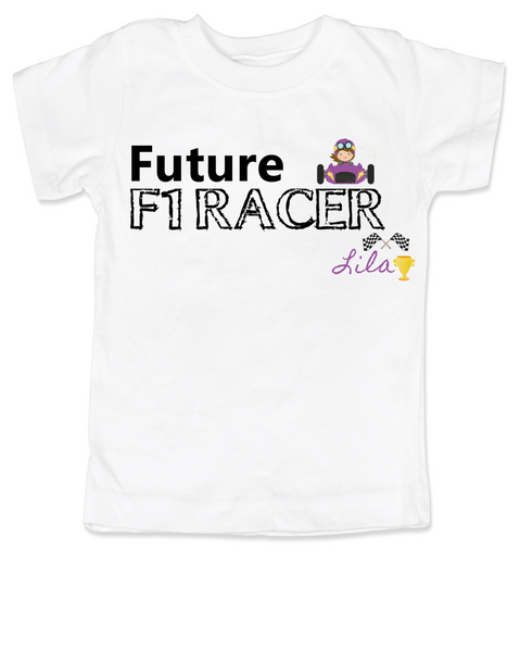 Future F1 Racer toddler shirt, Future race car driver, Formula one racing kid, indy car racing toddler, parents that love F1 racing, personalized F1 racer toddler gift, girl f1 racer, white