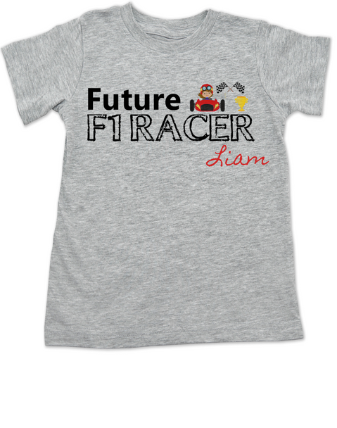 Future F1 Racer toddler shirt, Future race car driver, Formula one racing kid, indy car racing toddler, parents that love F1 racing, personalized F1 racer toddler gift, boy f1 racer, grey