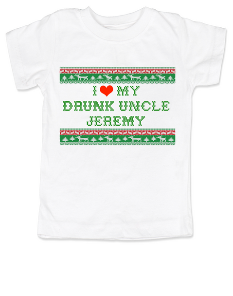 I love my drunk uncle toddler shirt, funny uncle toddler shirt, funny toddler gift from uncle, personalized uncle shirt for kids, ugly christmas sweater child shirt, personalized ugly christmas sweater toddler tee, drunk uncle kid shirt, I love my funny uncle toddler shirt, personalized with custom name.