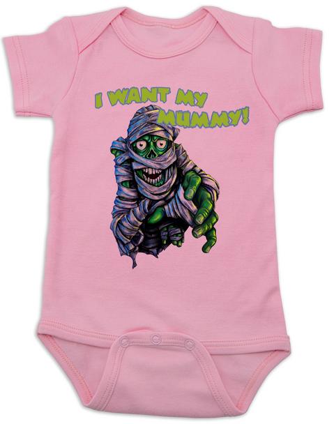 scary monster Bodysuit pinkmummy baby Bodysuit pinkHalloween baby Bodysuit pinkMummy Baby bodysuit pinkUnique Halloween baby clothing