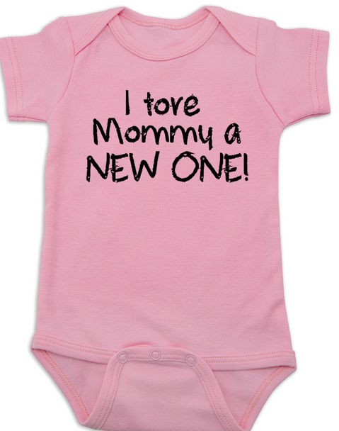 I tore Mommy a New One baby Bodysuit, funny labor onsie, mommy tore during labor, baby shower gag gift, pink
