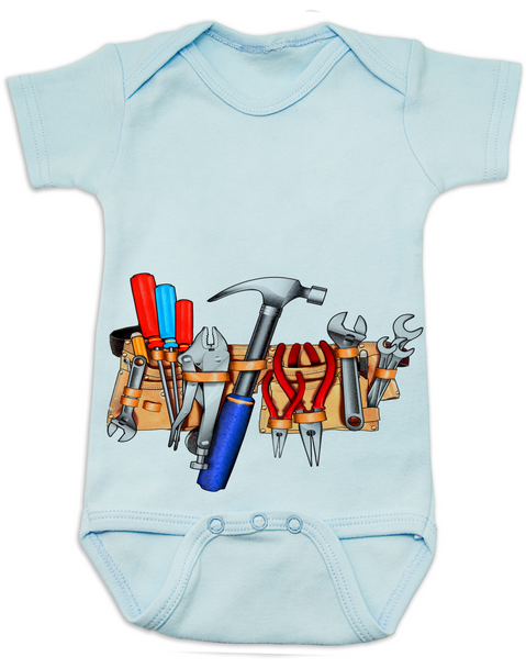 Tool Belt baby Bodysuit blue Tools baby Bodysuit Tools Bodysuit
