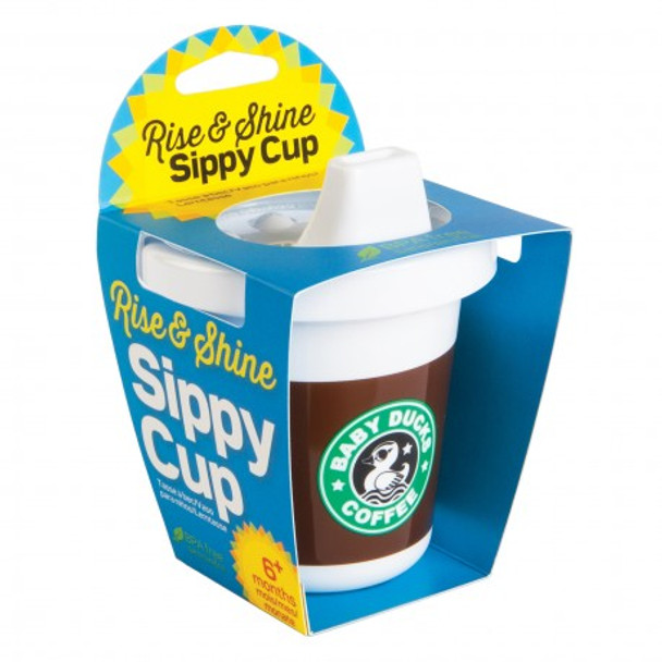 Gamago Rise and shine sippy cup, funny starbucks sippy cup, novelty sippy cup, fake coffee cup for baby, but first, milk