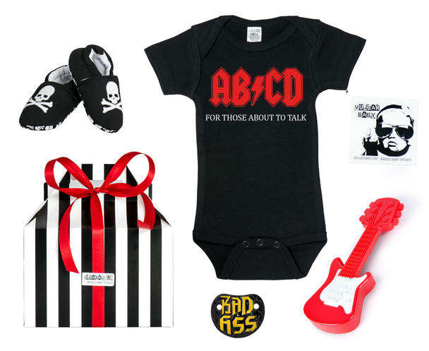 Ready to Rock Baby Gift Set, Rock and roll baby gift set, rock and roll baby shower, best rock baby gift, punk rock baby gift, rocker baby present, cool parents baby gift, rock & roll baby shower, future of rock baby Bodysuit, band baby Bodysuit, rock and roll baby Bodysuit, punk rock baby Bodysuit, volume knob pacifier, guitar rattle, vulgar baby gift set, skull baby shoes, badass baby box, Ready to rock big box, little rocker gift set