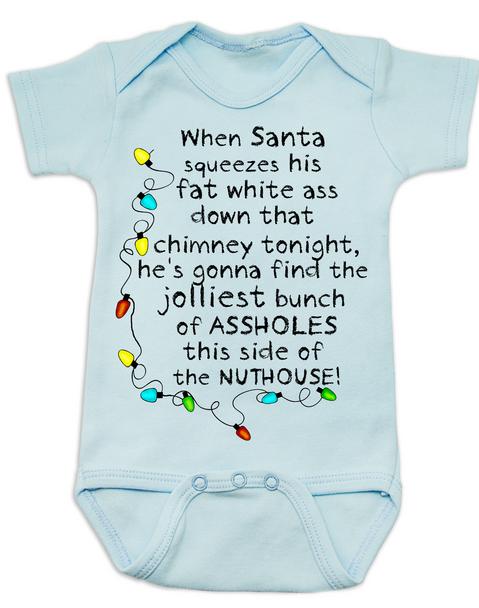 Christmas Story baby Bodysuit, jolliest bunch of assholes Bodysuit, classic Christmas Movie Bodysuit, A Christmas Story, funny christmas baby clothes, funny holiday baby Bodysuit, blue