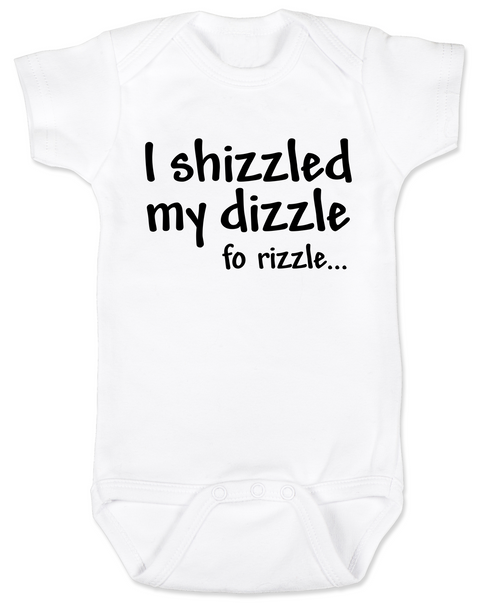 Hip Hop Baby Gift Set, gangster baby shower gift box, rap music baby onesie, I shizzled my dizzle baby onesie