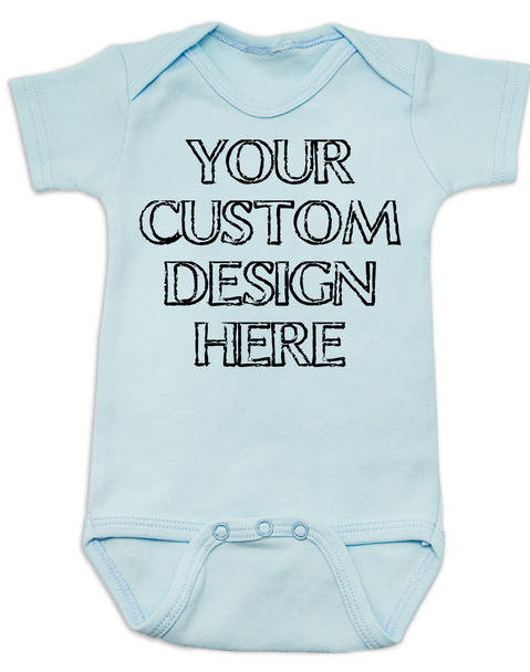 Design your own custom baby Bodysuit, create your own infant bodysuit, Personalized baby onsie, One of a kind baby present, customized baby gift, blue