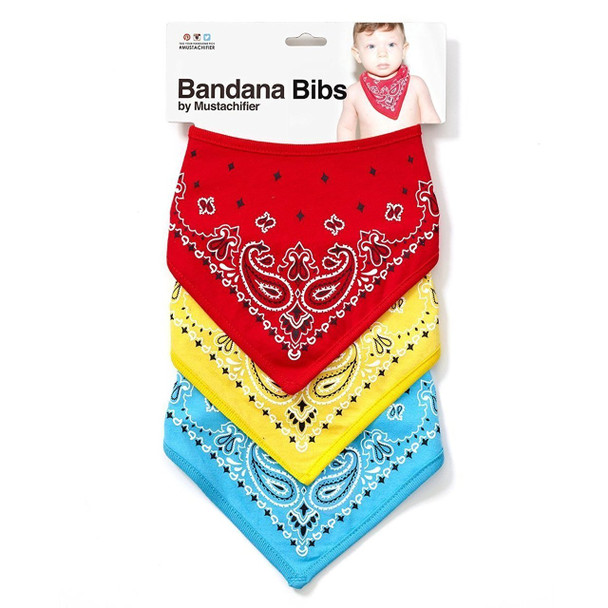 Bandana Bib, Mustachifier, Cool baby bib, gangsta baby, gangster baby bandana, fashion baby bib, little hipster, cowboy baby, little cowboy, handkerchief, baby hanky, velcro baby bib, badass baby bib, red yellow and blue