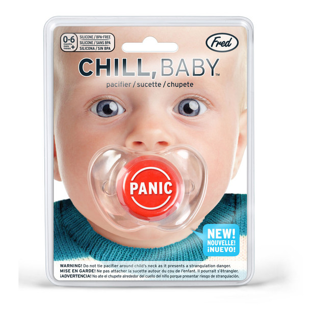 Funny baby Pacifier, Panic Button pacifier, panic baby binky, baby shower gag gift, funny infant pacifier, funny baby binky, funny binkie, chill baby, fred panic pacifier, novelty baby pacifier, baby wearing funny pacifier, new parents panic button, funny new parent gift, in package