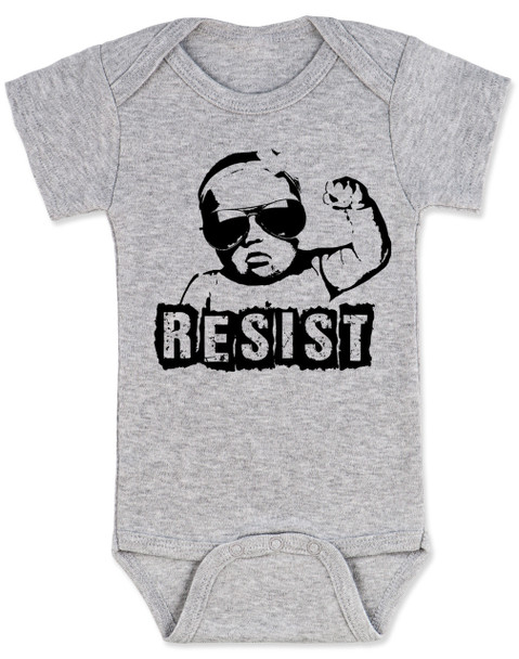Resist Baby Bodysuit, protest baby Bodysuit, Resist infant bodysuit, , funny political baby girl clothes, baby protester, anti-trump baby gift, grey