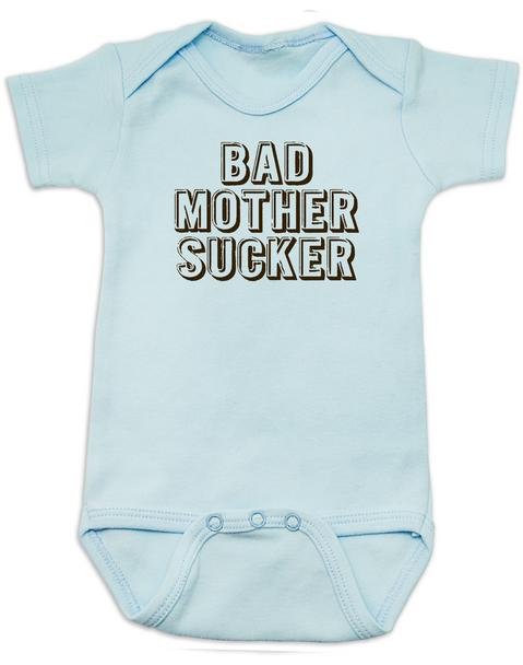 Bad Mother Sucker Baby Bodysuit, Pulp Fiction, Bad Mother Fucker Wallet, Samuel Jackson movie, Funny breastfeeding onsie, blue
