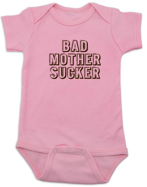 Bad Mother Sucker Baby Bodysuit, Pulp Fiction, Bad Mother Fucker Wallet, Samuel Jackson movie, Funny breastfeeding onsie, pink