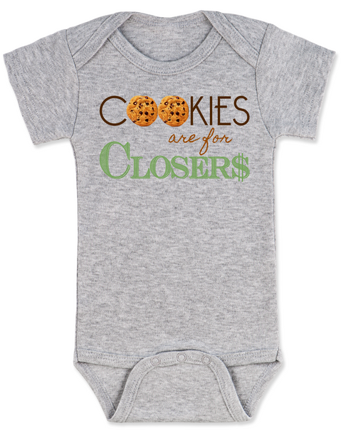 Cookies are for closers baby Bodysuit, Boss Baby Bodysuit, funny boss baby gift, grey