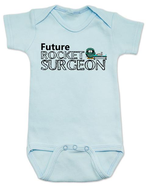 Future Rocket Surgeon baby Bodysuit, future personalized baby Bodysuit, rocket surgeon, custom funny baby gift, it's not rocket surgery baby, blue