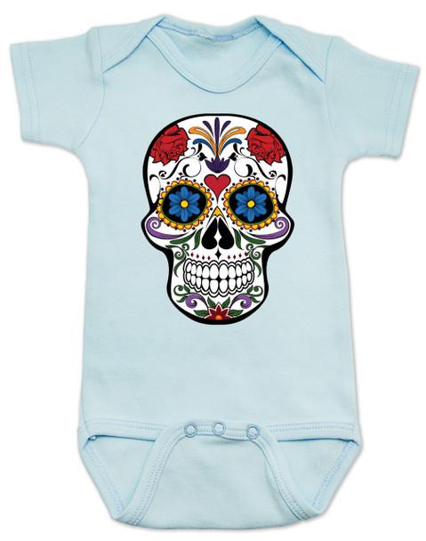 Dia de los Muertos baby Bodysuit, colorful sugar skull Bodysuit, Day of the dead baby Bodysuit, Halloween baby Bodysuit, blue