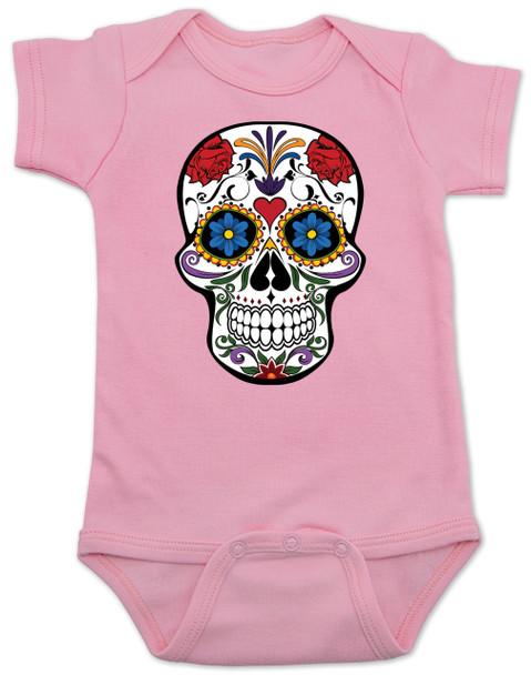 Dia de los Muertos baby Bodysuit, colorful sugar skull Bodysuit, Day of the dead baby Bodysuit, Halloween baby Bodysuit, pink