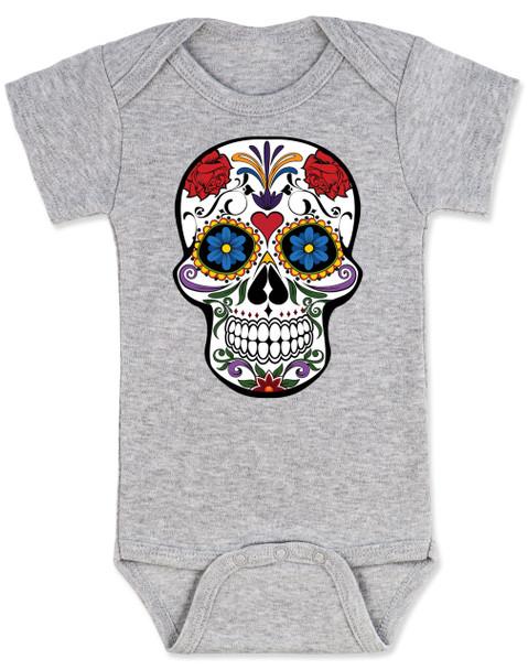 Dia de los Muertos baby Bodysuit, colorful sugar skull Bodysuit, Day of the dead baby Bodysuit, Halloween baby Bodysuit, grey
