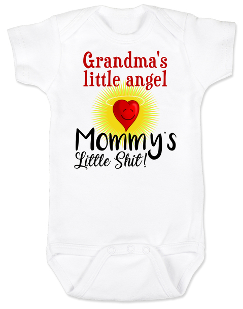 Mommy's little shit, grandma's little angel baby Bodysuit, Little shit baby onsie, funny grandparent baby Bodysuit, funny personalized grand baby gift, mimi's little angel, paw paws little angel, daddy's little shit, white