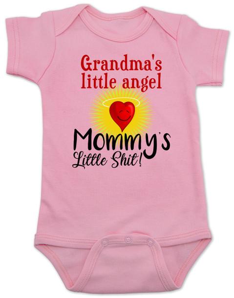 Mommy's little shit, grandma's little angel baby Bodysuit, Little shit baby onsie, funny grandparent baby Bodysuit, funny personalized grand baby gift, mimi's little angel, paw paws little angel, daddy's little shit, pink