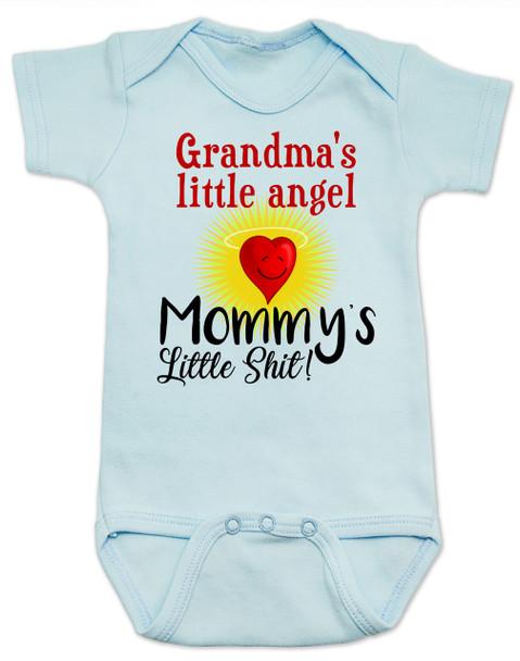 Mommy's little shit, grandma's little angel baby Bodysuit, Little shit baby onsie, funny grandparent baby Bodysuit, funny personalized grand baby gift, mimi's little angel, paw paws little angel, daddy's little shit, blue