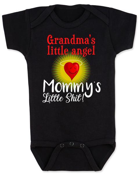 Mommy's little shit, grandma's little angel baby Bodysuit, Little shit baby onsie, funny grandparent baby Bodysuit, funny personalized grand baby gift, mimi's little angel, paw paws little angel, daddy's little shit, black