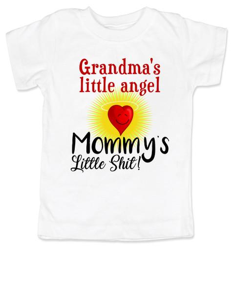 Mommy's little shit, grandma's little angel toddler shirt, Little shit toddler tshirt, funny grandparent toddler shirt, funny personalized grand baby gift, mimi's little angel, paw paws little angel, daddy's little shit, white