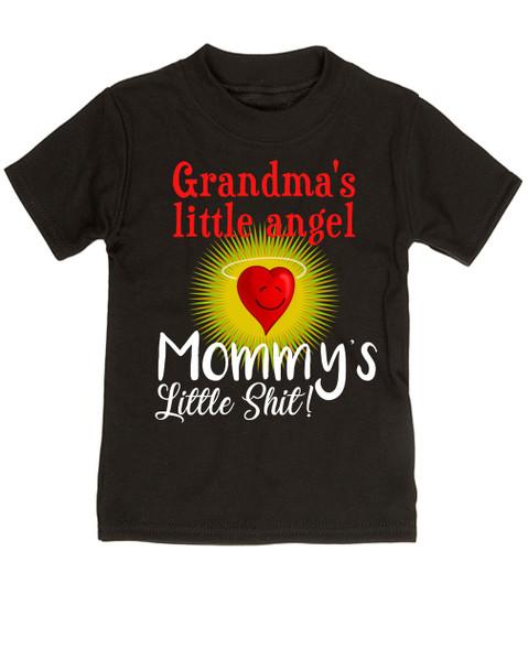 Mommy's little shit, grandma's little angel toddler shirt, Little shit toddler tshirt, funny grandparent toddler shirt, funny personalized grand baby gift, mimi's little angel, paw paws little angel, daddy's little shit, black