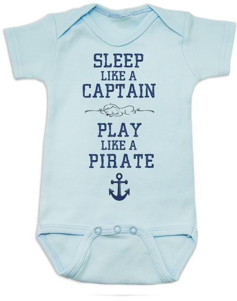 Sleep Like A Captain, Play Like a Pirate, wipe me booty, Aaaaar, Pirate baby, nautical onsie, Work Like a Captain Play Like a Pirate, Sailor infant bodysuit, blue