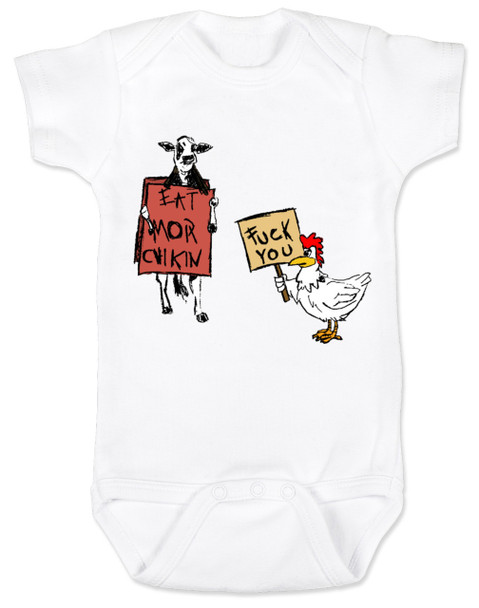 Eat more chicken baby Bodysuit, fuck you cow chicken baby bodysuite, funny animals baby Bodysuit, white