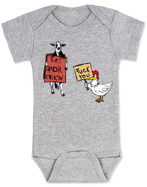 Eat more chicken baby Bodysuit, fuck you cow chicken baby bodysuite, funny animals baby Bodysuit, grey