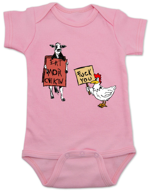 Eat more chicken baby Bodysuit, fuck you cow chicken baby bodysuite, funny animals baby Bodysuit, pink