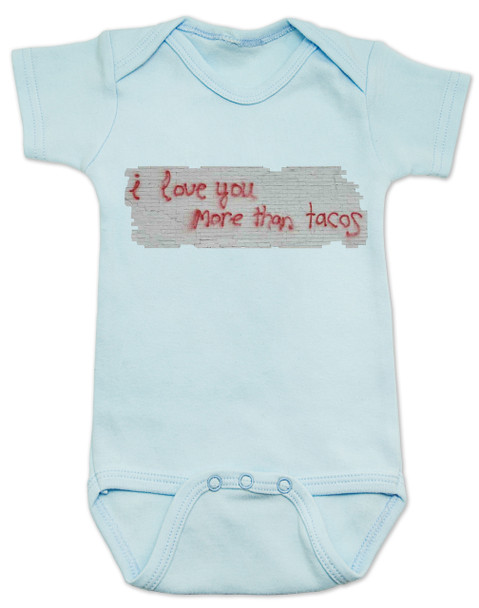 I love you more than tacos graffiti baby Bodysuit, blue