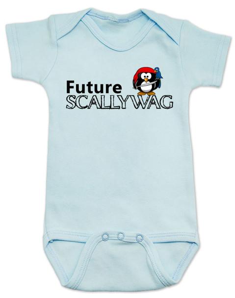 Future Scallywag baby Bodysuit, future personalized baby Bodysuit, future pirate, custom pirate baby gift, Little Scallywag, baby gift for pirate parents, blue