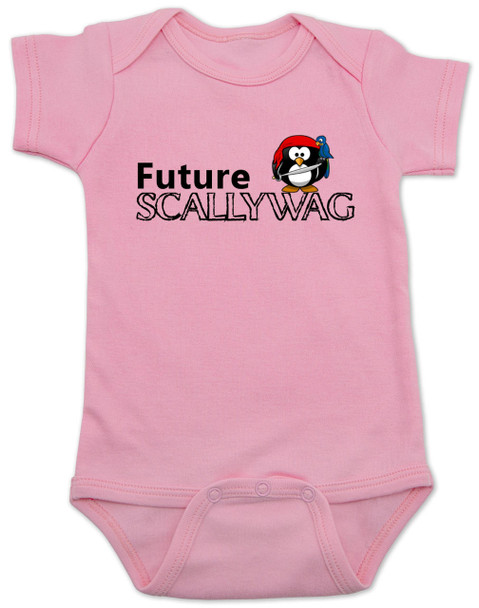 Future Scallywag baby Bodysuit, future personalized baby Bodysuit, future pirate, custom pirate baby gift, Little Scallywag, baby gift for pirate parents, pink