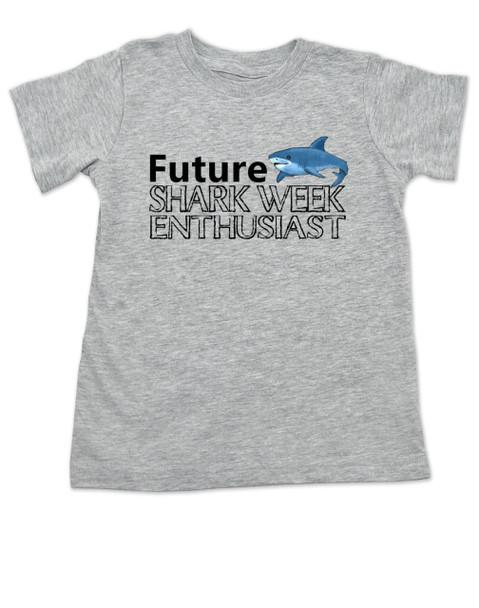 Shark Week toddler shirt, Future Shark Week Enthusiast, Little ocean enthusiast, Ocean baby toddler gift, Future shark lover, shark week kid shirt, grey