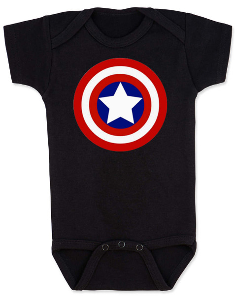 Captain America Baby Bodysuit, Patriotic baby onsie, 4th of July, Fourth of July, Memorial Day, holiday baby bodysuit, Made in the USA, Captain America Shield, black