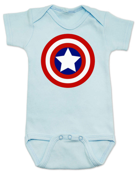 Captain America Baby Bodysuit, Patriotic baby onsie, 4th of July, Fourth of July, Memorial Day, holiday baby bodysuit, Made in the USA, Captain America Shield, blue