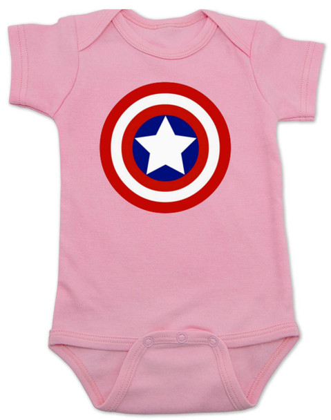 Captain America Baby Bodysuit, Patriotic baby onsie, 4th of July, Fourth of July, Memorial Day, holiday baby bodysuit, Made in the USA, Captain America Shield, pink