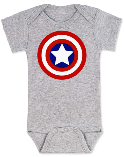 Captain America Baby Bodysuit, Patriotic baby onsie, 4th of July, Fourth of July, Memorial Day, holiday baby bodysuit, Made in the USA, Captain America Shield, grey