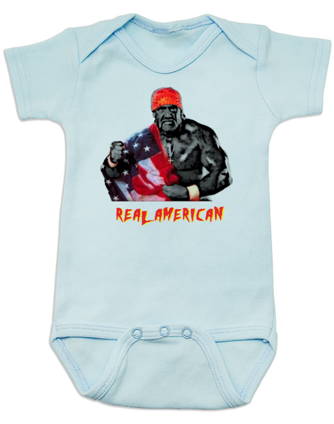 Real American Baby Bodysuit, Hulk Hogan Baby Onsie, patriotic baby clothes, 4th of july Bodysuit, memorial day Bodysuit, veterans day Bodysuit, cheesy baby shower gift, red white and blue baby, America Baby, blue