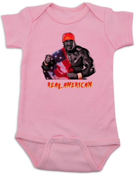 Real American Baby Bodysuit, Hulk Hogan Baby Onsie, patriotic baby clothes, 4th of july Bodysuit, memorial day Bodysuit, veterans day Bodysuit, cheesy baby shower gift, red white and blue baby, America Baby, pink