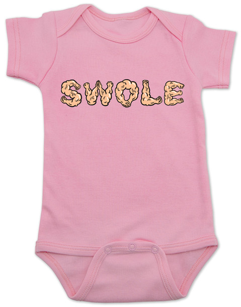 Swole baby Bodysuit, muscle baby Bodysuit, i work out baby Bodysuit, do you even lift, SWOLE infant bodysuit, strong like daddy, strong like mommy, baby gift for fit parents, funny work out baby, muscular baby, weight lifting baby gift, pink