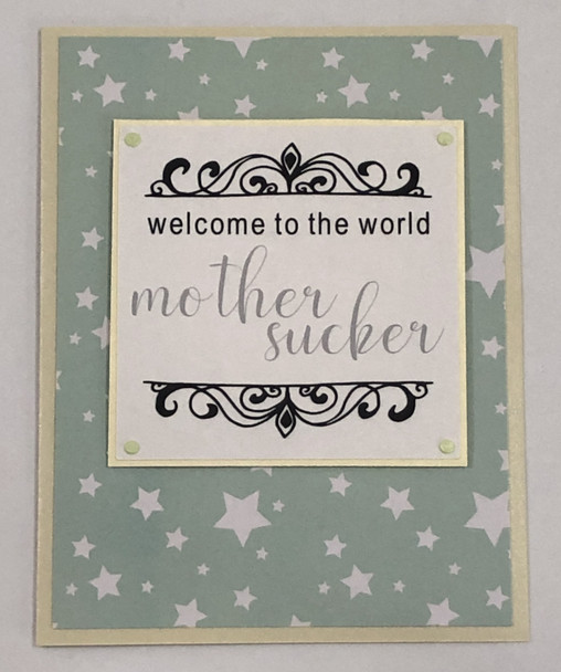 greeting card, handmade card, cool new parents, funny greeting card for baby, greeting card for baby gift, funny baby card, welcome to the world, mother sucker, mother sucker baby card, stars, turquoise, Stars
