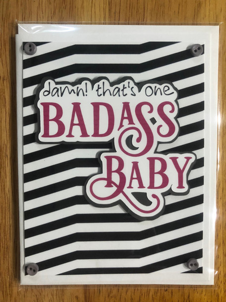 greeting card, handmade card, cool new parents, funny greeting card for baby, greeting card for baby gift, badass baby, funny baby cards, damn that's one badass baby, badass greeting cards, pink