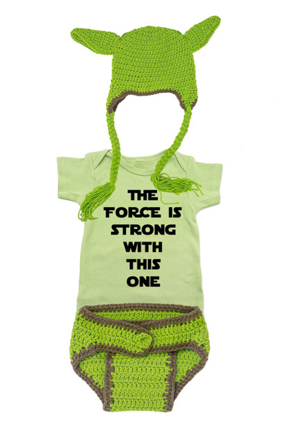 Little Yoda, Yoda baby costume, little star wars fan, star wars parents, Yoda Halloween costume, crochet yoda hat and diaper cover, force is strong with this one, star wars baby bodysuit, green