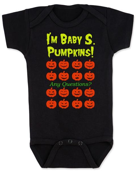 Baby S Pumpkins,  pumpkin baby bodysuit,  david s pumpkins halloween baby, snl baby, saturday night live skit, funny halloween baby bodysuit