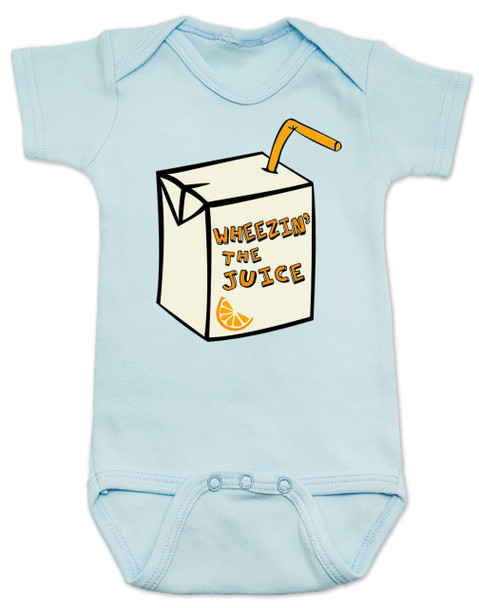 Wheezin the juice, wheeze the juice baby bodysuit, pauly shore, 90's baby gift, 90s movie baby bodysuit,  Encino man, wheez the juice baby, blue