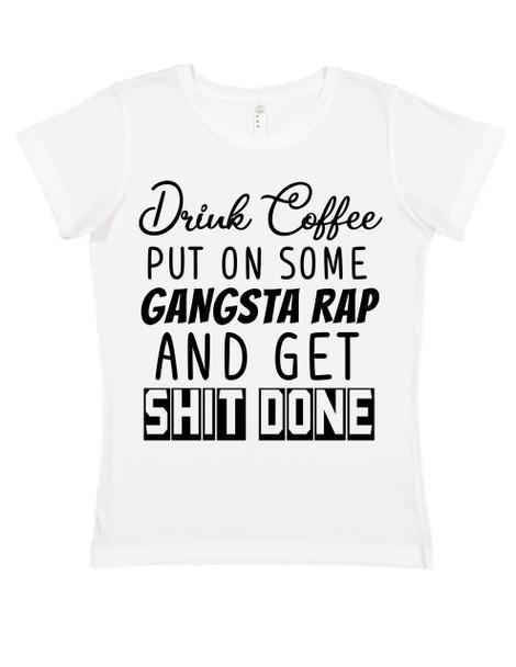 Coffee and Rap women's shirt, funny coffee shirt for women, gangsta rap ladies shirt, boss lady shirt, badass mom shirt, coffee rap mom